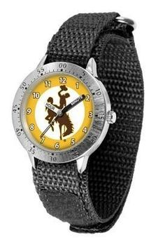 Wyoming Cowboys Youth Watch Velcro Strap Watch by SunTime. $29.95. Officially Licensed Wyoming Cowboys Youth Watch. Stainless Steel Back. Kids & Toddlers. Velcro Strap. Adjustable Band. Wyoming Cowboys Youth Watch Velcro Strap Watch. The metal alloy case is light weight with a stainless steel back and a sporty adjustable Velcro strap for the perfect, comfort youth fit. The Cowboys large team logo creates an eye popping prideful statement. The kid friendly easy-to-read h...