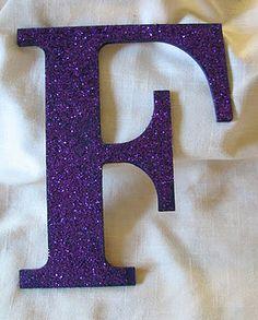 Glitter Letters. Made of cardboard glitter, glue or glitter glue.