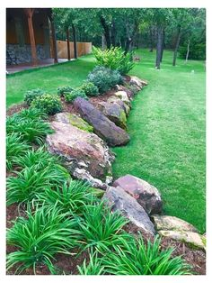 Landscaping With Rocks, Landscaping Tips, Front Yard Landscaping, Hillside Landscaping, Gardening With Rocks, Outdoor Landscaping, Back Gardens, Outdoor Gardens, Olive Garden