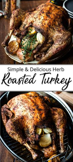 A simple Oven Roasted Turkey Recipe seasoned with fresh herbs, garlic and lemon . , A simple Oven Roasted Turkey Recipe seasoned with fresh herbs, garlic and lemon and baked till golden brown. Perfect for Thanksgiving! Herb Turkey Recipe, Herb Roasted Turkey, Roast Turkey Recipes, Baked Turkey, Best Oven Turkey Recipe, Simple Roast Turkey Recipe, Roasted Garlic, Pork Recipes, Turkey Seasoning