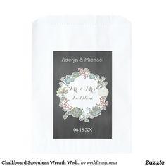 Chalkboard Succulent Wreath Wedding Favor Bags