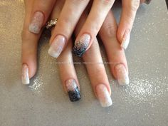 Acrylic nails with white and black glitter dust