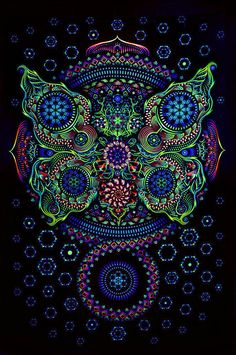 uv wall hanging 1 x 15M psy hippie goa art by orangeblooming