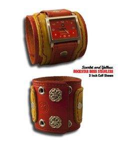 Red & Yellow Leather Rockstar Boss Drake Leather Cuff Watch with Red Stainless Steel 10ATM Watch with a Sapphire Lens
