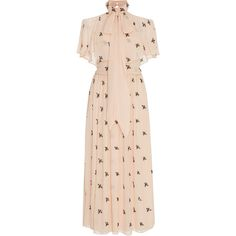 Temperley London Starling Midi Dress (¥132,835) ❤ liked on Polyvore featuring dresses, neutral, temperley london, open shoulder dress, cutout shoulder dresses, calf length dresses and cold shoulder dress
