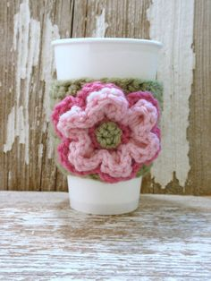Pistachio Green with Pink and Rose Floral crocheted COFFEE SLEEVE or Tea COZY