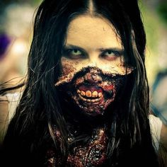 With this post we start a new series of image posts: The Zombie Facts. Zombie fact How are zombies better than humans? Gory Halloween Makeup, Halloween Contacts, Halloween Eyes, Zombie Makeup, Scary Makeup, Sfx Makeup, Halloween Party, The Walking Dead, Funny Scary Pranks