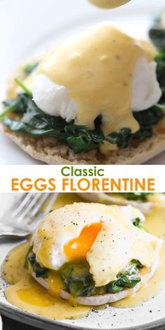 A classic Eggs Florentine recipe made with poached eggs on a toasted english muffin with cooked spinach and and homemade hollandaise sauce. I love this delicious healthy twist on traditional eggs Benedict. Vegetarian Recipes, Cooking Recipes, Healthy Recipes, Cooking Eggs, Sauce Hollandaise Vegan, Easy Eggs Benedict, Eggs Benedict Healthy, Vegetarian Eggs Benedict Recipe, Salads