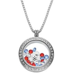 "Blue La Rue Crystal Stainless Steel 1-in. Round Star & ""usa"" Charm... (1.311.000 IDR) ❤ liked on Polyvore featuring jewelry, pendants, grey, swarovski crystal jewelry, heart locket charms, crystal jewelry, stainless steel charms and clasp charms"