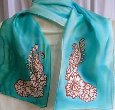 henna design on silk scarf
