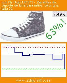 Lico Fly High 180273 - Zapatillas de deporte de lona para niños, color gris, talla 31 (Zapatos). Baja 63%! Precio actual 7,49 €, el precio anterior fue de 20,51 €. https://www.adquisitio.es/lico/fly-high-180273-1