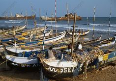 The fishing port in Prampam, Ghana.