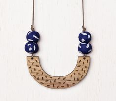 Delta  Geometric Confetti Wood Necklace with by adaandcedar