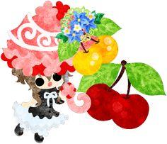 フリーイラスト素材可愛い女の子とさくらんぼの日傘  Free Illustration A cute little girl and a parasol of cherry   http://ift.tt/2rJOezq