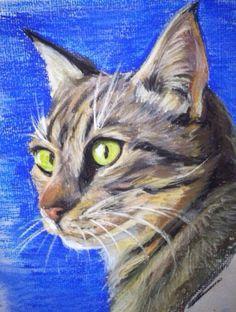 Custom Pastel Cat Portrait Hand Drawn Sketch by HandCraftedByRach, $50.00