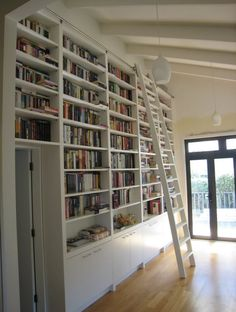 Furniture, Astounding White Library Rolling Ladder For Large White Bookshelf: 14 Interesting Rolling Library Ladder Ideas You Should Know