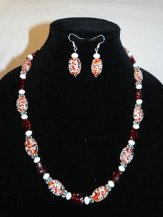 Handmade Red And White Glass Beaded Necklace by RLKuniqueboutique, $28.00