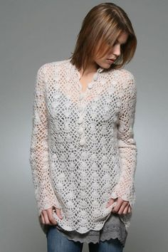 Lace Sweater - Free Crochet Diagram - (bethsteiner.blogspot)