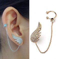 Cheap stud earrings set, Buy Quality earrings set directly from China angel wing stud earrings Suppliers: 2015 New Style Fashion Ear Cuff Jewelry Inlay Austrian Crystal Angel Wings Stud Earring Sets Fashion Party Jewelry Unique Earrings, Crystal Earrings, Stud Earrings, Pierced Earrings, Angel Earrings, Silver Earrings, Diamond Earrings, Silver Jewelry, Silver Ring