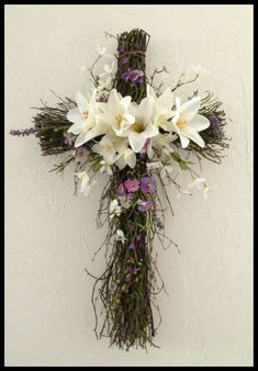 Easter Cross wreath for Nan 2014 Grave Flowers, Altar Flowers, Cemetery Flowers, Church Flowers, Funeral Flowers, Easter Wreaths, Holiday Wreaths, Spring Wreaths, Cemetery Decorations