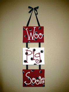 Woo Pig Sooie Razorback hanger by HogtownCreations on Etsy, $48.00
