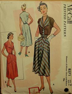 1950s Dress with Bolero  Vintage McCall's by patterntreasury