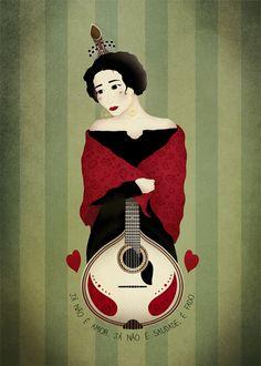 "\\Ana Vieira\\  ""it's not love nor longing it's Fado""  Illustration about the Portuguese music genre Fado"