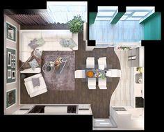 Гостинная с балконом и кухней