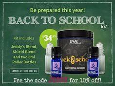 Spark Naturals is offering a Back to School Kit with Jeddy's Blend and Shield. This is a great offer that is for a limited time only. For only $4 more than a 5ml Jeddy's Blend you get a 5ml bottle of Shield and a roller bottle. Use the code JEDDY for an additional 10% off.