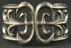 Navajo Sandcast Silver Bracelet with Corn Design     c. 1940