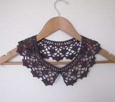 Sorbet Cassis lace crochet collar in burgundy wine by elfinhouse, $26.00
