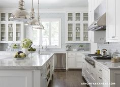 At Home in Arkansas - kitchens - Visual Comfort Lighting Country Industrial Pendant, jacobean, white and blue, white and blue kitchen, blue ...