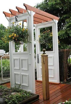 The two posts on this site with the doors are great! That little door pergola would be super cool at the top of the three stairs leading up to our fire pit area! The Doors, Windows And Doors, Front Doors, Outdoor Projects, Garden Projects, Garden Ideas, Patio Ideas, Backyard Ideas, Easy Garden