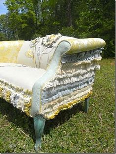 DIY reupholster vintage sofa, loveseat or chair project, a little at a time, using salvaged ruffles, ribbon, lace and trim. Upcycle, Recycle, RePurpose, Salvage! For ideas and goods shop at Estate ReSale  ReDesign, Bonita Springs, FL