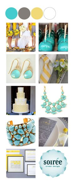Yellow Turquoise Grey And White Color Palette To Tie Kitchen Dining Room