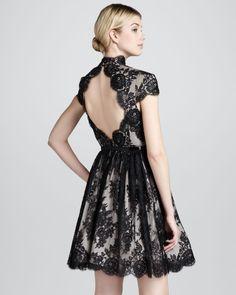 Alice + Olivia Jayna Lace Keyhole Dress, Black - Bergdorf Goodman