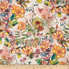 Cottage Garden Flowerbed Peony from @fabricdotcom  Designed by Alice Hickey for Free Spirit, this cotton print is perfect for quilting, apparel and home decor accents. Colors include cream, teal, yellow, green, olive, pink and melon.