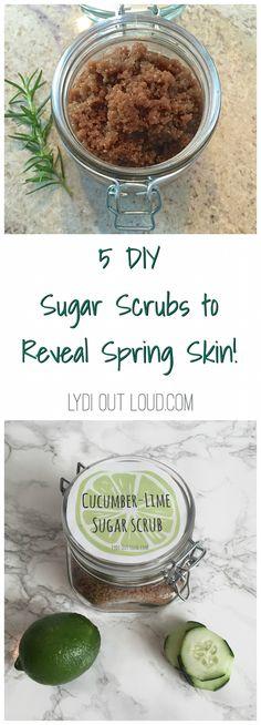 5 amazing DIY sugar scrubs! Delish scents!
