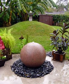 Sphere water fountain. A water feature you don't have to worry about with kids around.