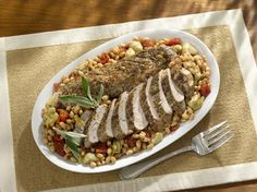 Sage-Roasted Pork Tenderloin with Beans- Gluten Free, Low Calorie, Low Sodium, high in Fiber, plus packed with Protein (70% DV)!