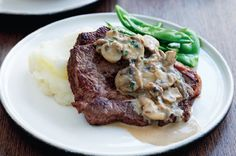 Steak with Reduced Fat Creamy Mushroom Sauce