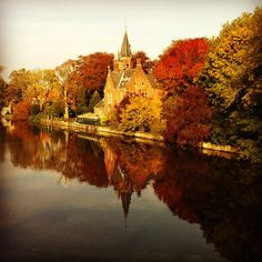 Minnewaterpark in Brugge kent een schitterende omgeving met veel grachten en juweeltjes van kasteeltjes #brugge #reflection #beautiful #water - @marcel_tettero- #webstagram