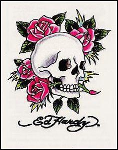 Ed Hardy-Skull w/Pink Roses Temporaray Tattoo