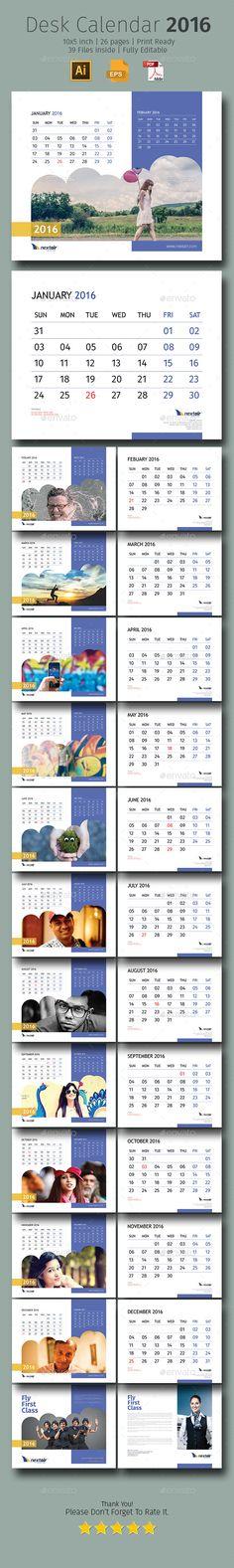2016 Desk Calendar #design Download: http://graphicriver.net/item/2016-desk-calendar/12612192?ref=ksioks