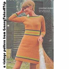 1960s VINTAGE CROCHET PATTERN- Orange Mini Dress/Tunic Top, Mod, Mary Quant/Twiggy style, Instant Download Pdf from GrannyTakesATrip 0025