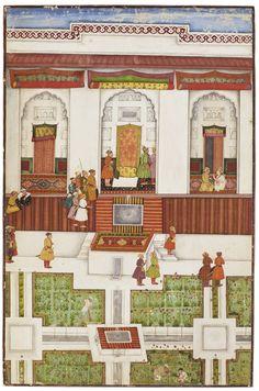 Narada warns Kamsa, an illustration to the Bhagavata Purana, attributed to the Early Master at the Court of Mandi, Mandi, circa painting Mughal Miniature Paintings, Mughal Paintings, Indian Paintings, Southeast Asian Arts, Bhagavata Purana, India Art, Krishna Art, Islamic Art, Modern Art
