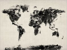 Map of the World Map Dark Abstract Painting Art Print by artPause