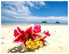 Hawaiian Flowers on the Beach