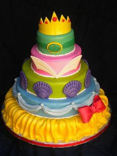 """Image detail for -Love Love Love this cake, one of my favs to date. Each tier represents one of the Disney Princesses.12"""",10"""",8"""",6"""" and 4"""" single layer tiers."""