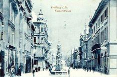 Freiburg im Winter Kaiserstraße mit Fischbrunnen - Freiburg im Winter Kaiserstraße mit Fischbrunnen, etwa um 1920  /*  */